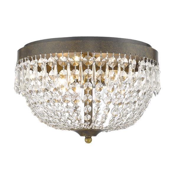 Z-Lite Danza 15-in Golden Bronze 4-Light Flush Mount Light