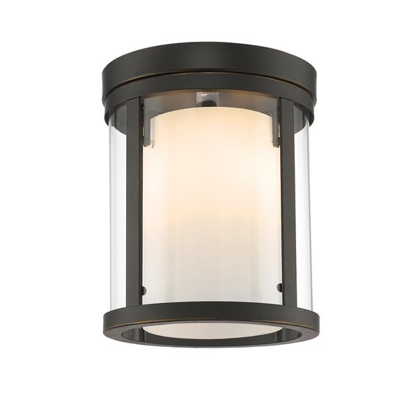 Z-Lite Willow 9-in Olde Bronze 3-Light Flush Mount