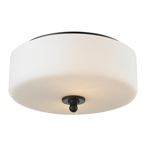 Z-Lite Cardinal 11.75-in Olde Bronze 2-Light Flush Mount Light