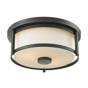 Z-Lite Savannah 11-in Olde Bronze 2-Light Flush Mount