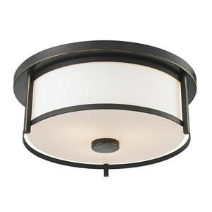 Z-Lite Savannah 13.75-in Olde Bronze 2-Light Flush Mount