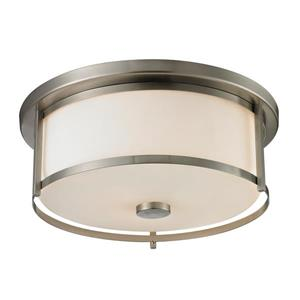 Z-Lite Savannah 15.75-in Brushed Nickel 3-Light Flush Mount