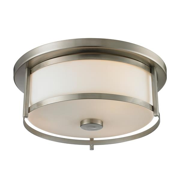 Z-Lite Savannah 13.75-in Brushed Nickel 2-Light Flush Mount