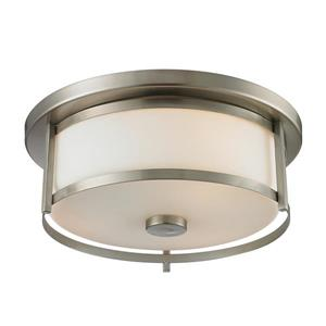Savannah 13.75-in Brushed Nickel 2-Light Flush Mount