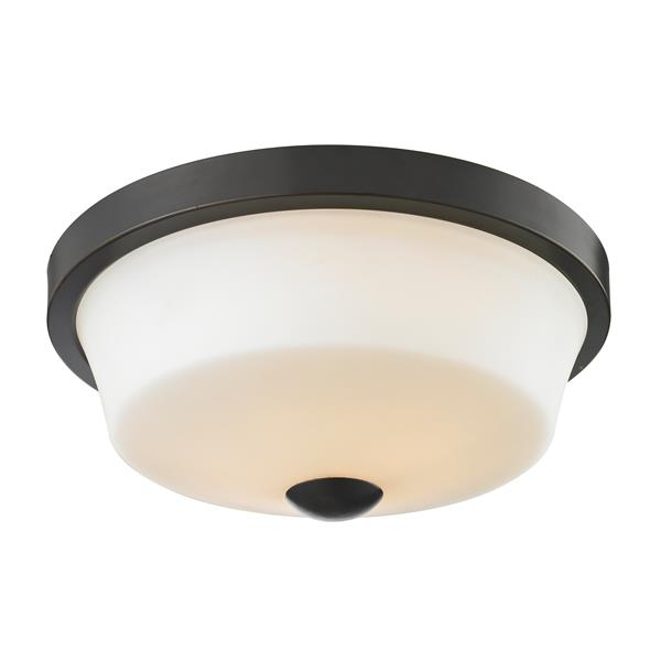 Z-Lite Montego 13.37-in Coppery Bronze 2-Light Flush Mount