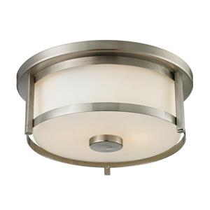 Z-Lite Savannah 11-in Brushed Nickel 2-Light Flush Mount