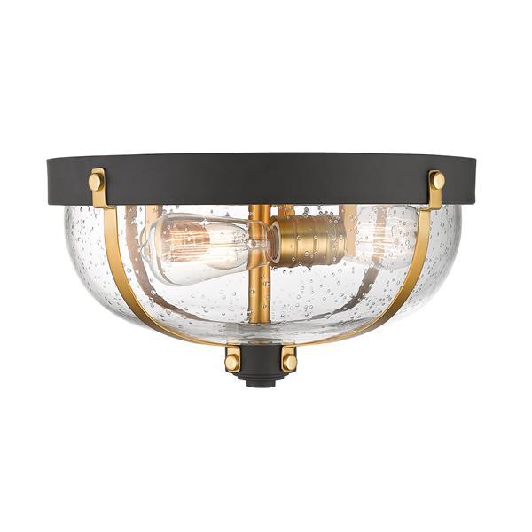 Z-Lite Burren 14.87-in Bronze and Brass 3 Light Flush Mount Light
