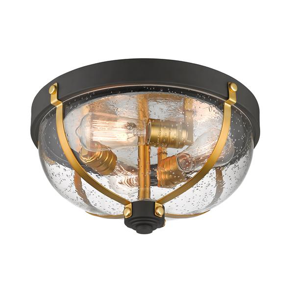 """Plafonnier à 3 lumières Burren, 14,87"""", bronze et laiton"""