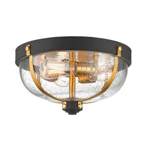Burren 14.87-in Bronze and Brass 3 Light Flush Mount Light
