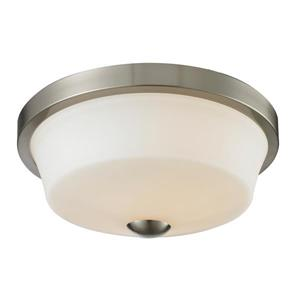 Z-Lite Montego 13.37-in Brushed Nickel 2-Light Flush Mount
