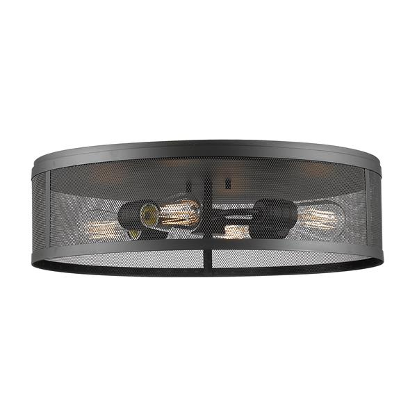 Z-Lite Meshlight 21.12-in Bronze 4-Light Flush Mount