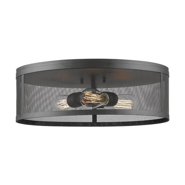 Z-Lite Meshsmith 18-in Bronze 3-Light Flush Mount