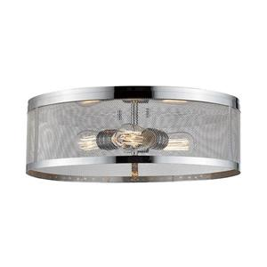 Z-Lite Meshsmith 18-in Chrome 3-Light Flush Mount