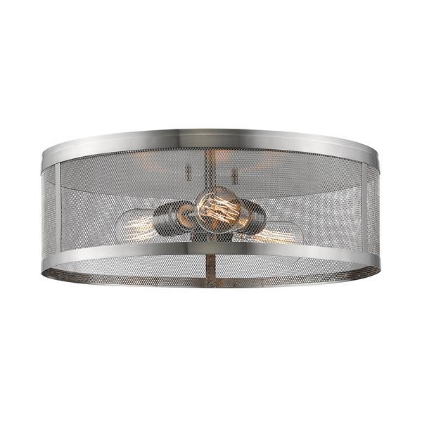 Z-Lite Meshsmith 18-in Brushed Nickel 3-Light Flush Mount
