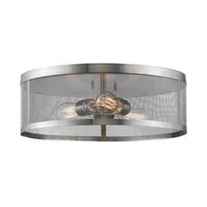 Z-Lite Meshsmith 18-in Brushed Nickel 3-Light Flush Mount