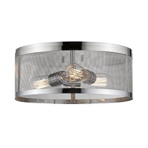 Z-Lite Meshsmith 14.87-in Chrome 3-Light Flush Mount