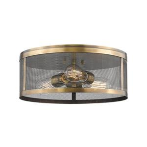 Z-Lite Meshsmith 14.87-in Natural Brass 3-Light Flush Mount