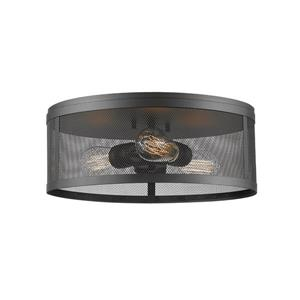 Z-Lite Meshsmith 14.87-in Bronze 3-Light Flush Mount
