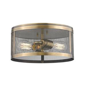 Z-Lite Meshsmith 12.12-in Natural Brass 2-Light Flush Mount