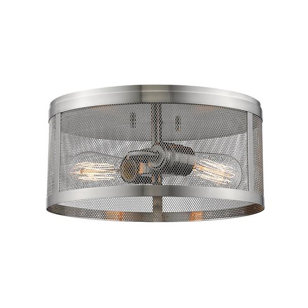 Z-Lite Meshsmith 12.12-in Brushed Nickel 2-Light Flush Mount