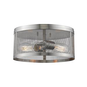 Z-Lite Meshsmith 12.12-in Brushed Nickel 2-Light Flush Mount