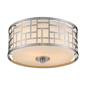 Z-Lite Elea 11.75-in Brushed Nickel 2-Light Flush Mount Light