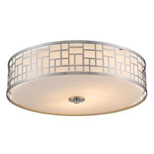 Z-Lite Elea 20.5-in Brushed Nickel 3-Light Flush Mount Light