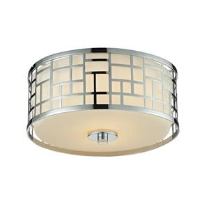 Z-Lite Elea 11.75-in Chrome 2-Light Flush Mount Light