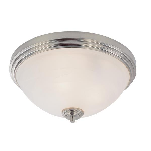 Z-Lite Chelsey 14-in Brushed Nickel 3-Light Flush Mount Light
