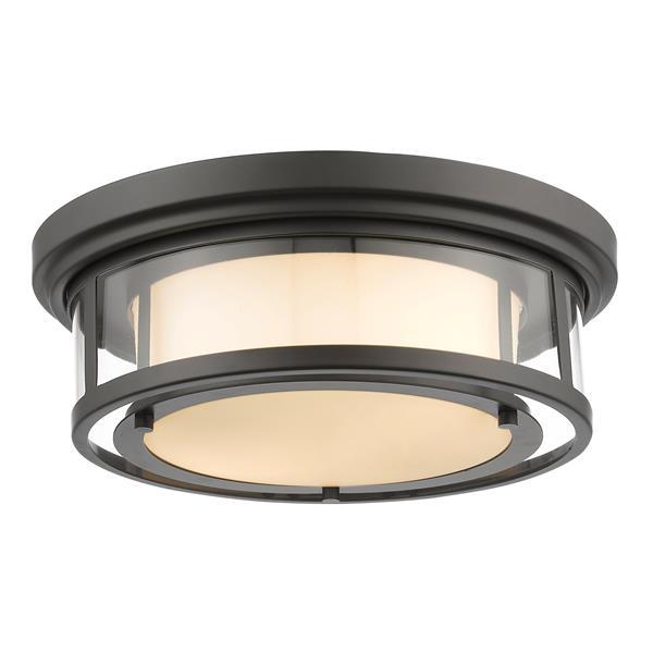 Z-Lite Luna 15.5-in Bronze 2-Light Flush Mount Light