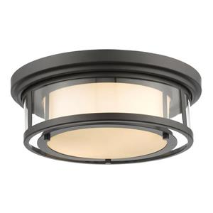 Z-Lite Luna 15.5-in Bronze 2-Light Flush Mount Light
