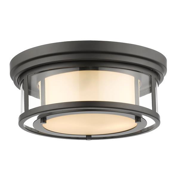 Z-Lite Luna 13-in Bronze 2-Light Flush Mount Light