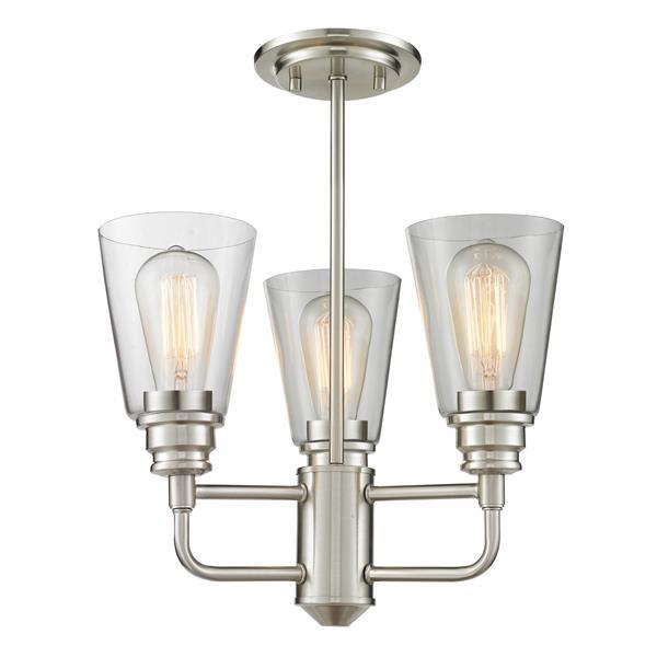 Z-Lite Annora 3-Light Brushed Nickel 15-in x 15-in x 17.38-in Semi Flush Mount