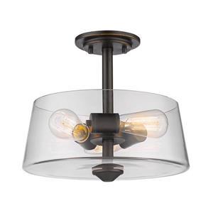 """Semi-plafonnier à 3 lumières Annora, 13,75"""", bronze antique"""