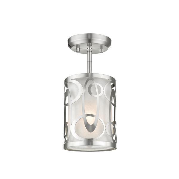 "Semi-plafonnier à 1 lumière Opal, 6"", nickel brossé"