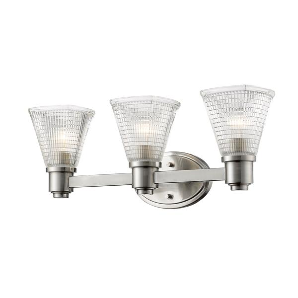 Z-Lite Intrepid 9-in x 23.25-in Brushed Nickel 3-Light Vanity Light