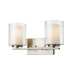Applique salle de bain Willow, 2 lumières, nickel brossé