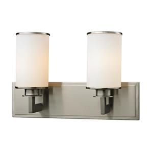 Z-Lite Savannah 5.5-in x 10.12-in Brushed Nickel 2-Light Vanity Light