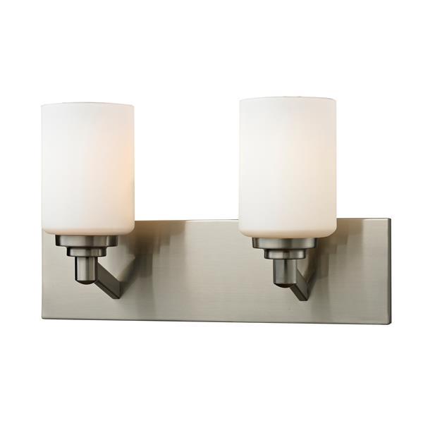 Applique salle de bain Montego, 2 lumières, nickel brossé