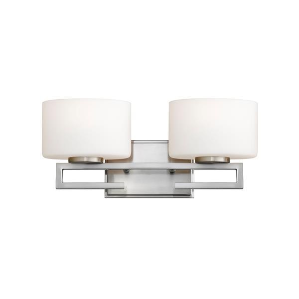 Z-Lite Privet 5.62-in x 6.87-in 2-Light Brushed Nickel LED Vanity Light