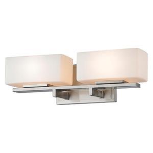 Applique pour salle de bain Kaleb, 2 lumières, nickel brossé