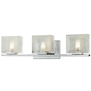 Z-Lite Jaol 22.50-in x 5.62-in Chrome 3-Light LED Vanity Light