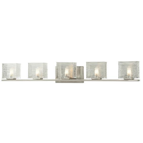 Applique pour salle de bain Jaol, 5 lumières, nickel brossé