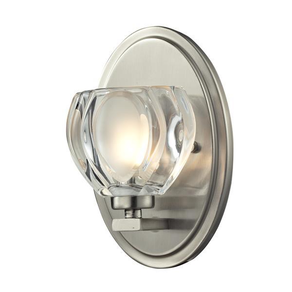 Z-Lite Hale 8-in x 3.75-in Brushed Nickel 1-Light Vanity Wall Light