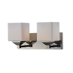 Z-Lite Quube 6-in x 6.75-in Chrome 2-Light Vanity Light