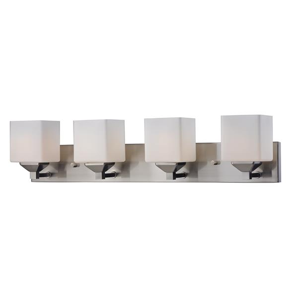 Z-Lite Quube 6-in x 6.75-in Brushed Nickel 4-Light Vanity Light