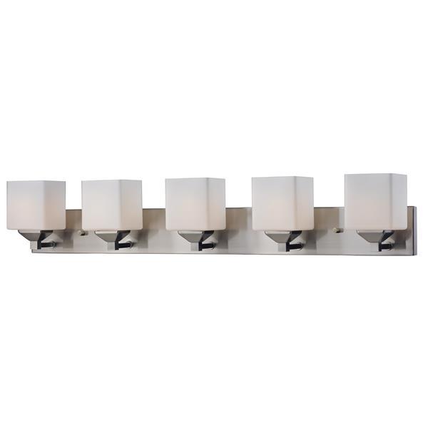 Applique pour salle de bain Quube, 5 lumières, nickel brossé
