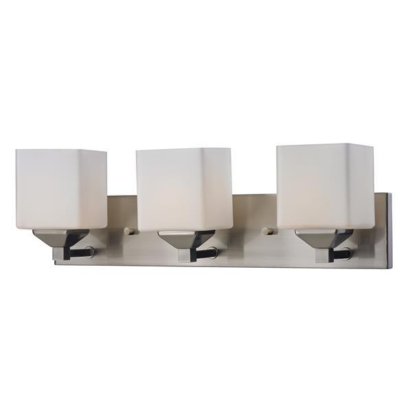 Z-Lite Quube 6-in x 6.75-in Brushed Nickel 3-Light Vanity Light