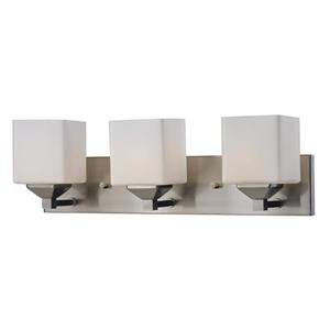 Z-Lite Quube 6-in x 6.75-in Brushed Nickel 3-Light Vanity Light