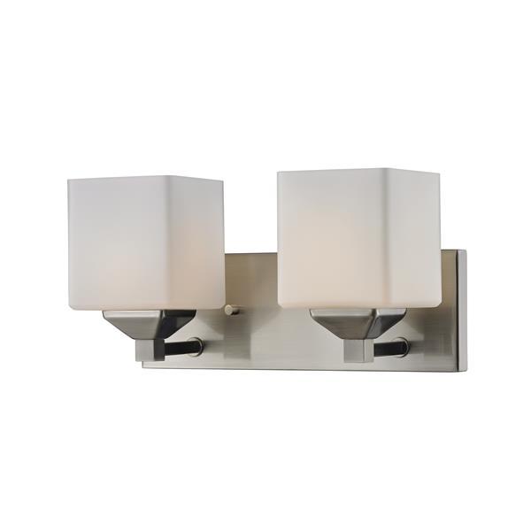 Z-Lite Quube 6-in x 6.75-in Brushed Nickel 2-Light Vanity Light